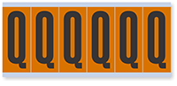 """Mylar 3"""" Numbers and Letters Character black on orange Q"""