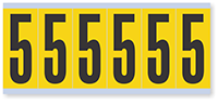 "Mylar 3"" Numbers and Letters Character Black on yellow 5"