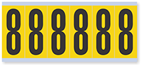 "Mylar 3"" Numbers and Letters Character Black on yellow 8"