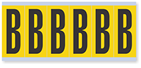"""Mylar 3"""" Numbers and Letters Character Black on yellow B"""