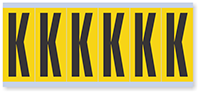 """Mylar 3"""" Numbers and Letters Character Black on yellow K"""