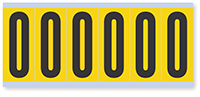 """Mylar 3"""" Numbers and Letters Character Black on yellow O"""