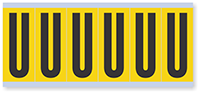 """Mylar 3"""" Numbers and Letters Character Black on yellow U"""