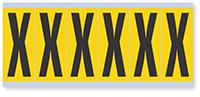 """Mylar 3"""" Numbers and Letters Character Black on yellow X"""