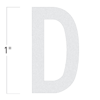 Die-Cut 1 Inch Tall Reflective Letter D White