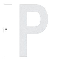 Die-Cut 1 Inch Tall Reflective Letter P White