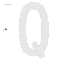 Die-Cut 1 Inch Tall Reflective Letter Q White