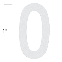 Die-Cut 1 Inch Tall Reflective Number 0 White