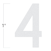 Die-Cut 1 Inch Tall Reflective Number 4 White