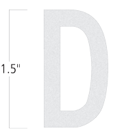 Die-Cut 1.5 Inch Tall Reflective Letter D White