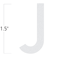 Die-Cut 1.5 Inch Tall Reflective Letter J White