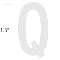 Die-Cut 1.5 Inch Tall Reflective Letter Q White