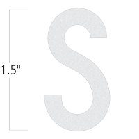 Die-Cut 1.5 Inch Tall Reflective Letter S White
