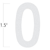 Die-Cut 1.5 Inch Tall Reflective Number 0 White