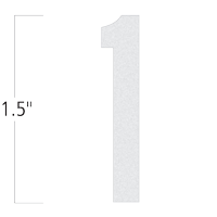 Die-Cut 1.5 Inch Tall Reflective Number 1 White