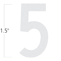 Die-Cut 1.5 Inch Tall Reflective Number 5 White