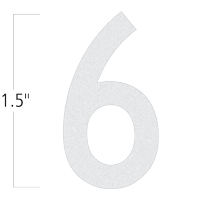 Die-Cut 1.5 Inch Tall Reflective Number 6 White