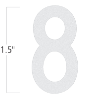 Die-Cut 1.5 Inch Tall Reflective Number 8 White