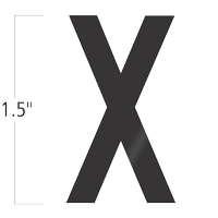 Die-Cut 1.5 Inch Tall Vinyl Letter X Black