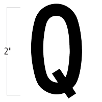 Die-Cut 2 Inch Tall Magnetic Letter Q Black
