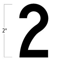 Die-Cut 2 Inch Tall Magnetic Number 2 Black