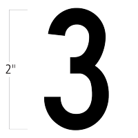 Die-Cut 2 Inch Tall Magnetic Number 3 Black