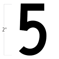 Die-Cut 2 Inch Tall Magnetic Number 5 Black