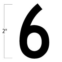 Die-Cut 2 Inch Tall Magnetic Number 6 Black