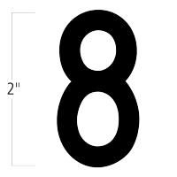 Die-Cut 2 Inch Tall Magnetic Number 8 Black