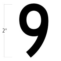Die-Cut 2 Inch Tall Magnetic Number 9 Black