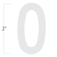 Die-Cut 2 Inch Tall Reflective Number 0 White