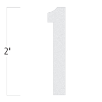 Die-Cut 2 Inch Tall Reflective Number 1 White