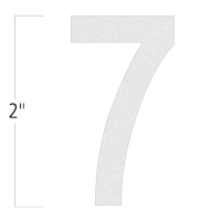 Die-Cut 2 Inch Tall Reflective Number 7 White