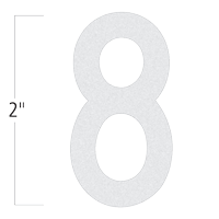 Die-Cut 2 Inch Tall Reflective Number 8 White