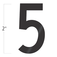 Die-Cut 2 Inch Tall Vinyl Number 5 Black