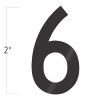 Die-Cut 2 Inch Tall Vinyl Number 6 Black