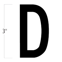 Die-Cut 3 Inch Tall Magnetic Letter D Black