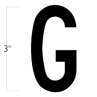 Die-Cut 3 Inch Tall Magnetic Letter G Black
