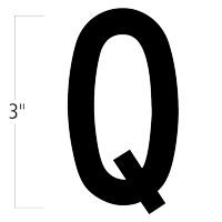 Die-Cut 3 Inch Tall Magnetic Letter Q Black