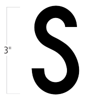 Die-Cut 3 Inch Tall Magnetic Letter S Black