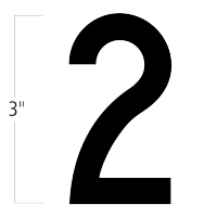 Die-Cut 3 Inch Tall Magnetic Number 2 Black