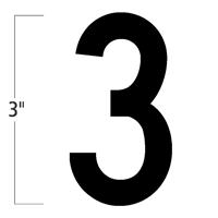 Die-Cut 3 Inch Tall Magnetic Number 3 Black