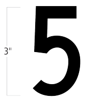 Die-Cut 3 Inch Tall Magnetic Number 5 Black