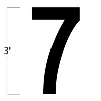 Die-Cut 3 Inch Tall Magnetic Number 7 Black