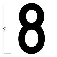 Die-Cut 3 Inch Tall Magnetic Number 8 Black