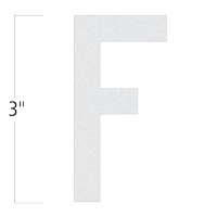 Die-Cut 3 Inch Tall Reflective Letter F White