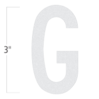Die-Cut 3 Inch Tall Reflective Letter G White