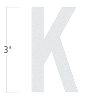 Die-Cut 3 Inch Tall Reflective Letter K White