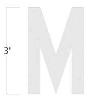 Die-Cut 3 Inch Tall Reflective Letter M White
