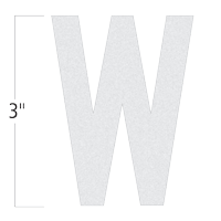 Die-Cut 3 Inch Tall Reflective Letter W White